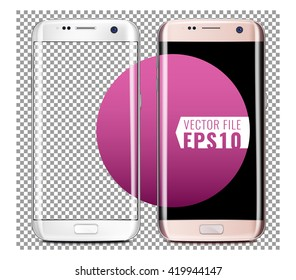 New generation of White and Pink smart phone Vector Mock Up fully Re-size-able and Scale-able with high resolution great for web design showcase, product, presentations, advertising in modern style.