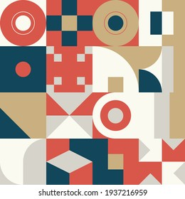 New geo artwork of vector abstract composition design made with colorful geometric shapes and simple geometrical figures, useful for web background, poster texture, covers, front pages and prints.