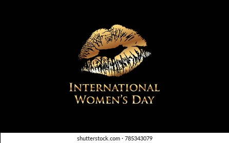 New gold vector of International Women's Day with golden woman lips on black background