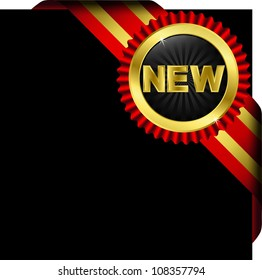 New golden label with ribbons, vector illustration