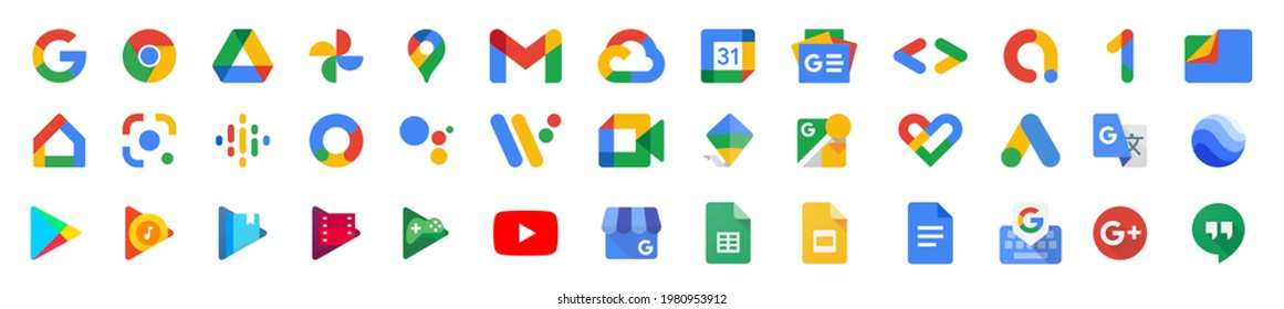 New Google product icons. Big collection of gmail, youtube and chrome symbols. Maps and music. Isolated new Google products of 2021. Editorial set. Vinnitsa, Ukraine - May 27, 2021. EPS 10