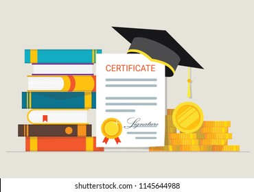 New Graduation cap and golden coins with books symbolising education and knowledge. Vector illustration. Investment in education concept.