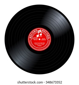 New gramophone red label vinyl LP record with music note. Black musical long play album disc 33 rpm. old technology, realistic retro design, vector art image illustration, isolated on white background