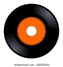 New gramophone vinyl. Black music long play album disc 45 rpm. lp with copy space, add text or graphic to blank record orange color label, vector art image illustration isolated on white background