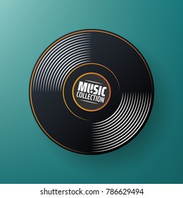 New gramophone vinyl label. Black musical. old technology, vector art image illustration