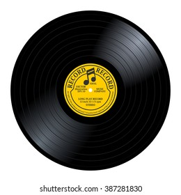 New gramophone vinyl LP record with yellow / gray label. Black musical long play album disc 33 rpm. old technology, realistic retro design, vector art image illustration, isolated on white background
