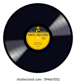New gramophone yellow label vinyl LP record with music note. Black musical long play album disc 33 rpm. old technology, realistic retro design, vector image illustration, isolated on white background