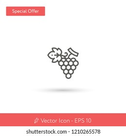 New Grapes vector icon. Modern, simple, isolated, flat best quality icon for web site designs or mobile apps. Vector illustration EPS 10.