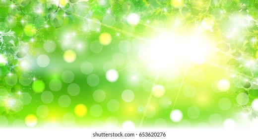 New green leaves landscape background
