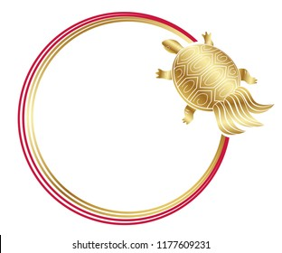 New Year's greeting frame with an auspicious symbol - turtle - and decoration strings, vector illustration.