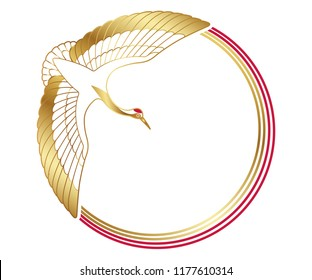 New Year's greeting frame with an auspicious symbol - crane - and decoration strings, vector illustration.