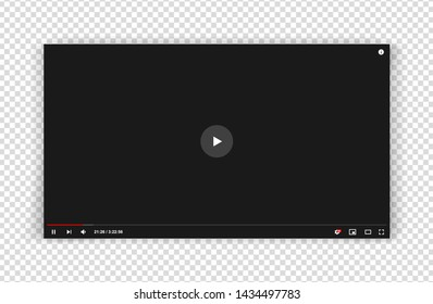 New grey video player window template for web or mobile apps isolated on transparent background. Flat style watching video online minimalistic page design. Vector illustration