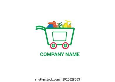new grocery basket logo, fresh vegetable with big cart grocery logo design vector template