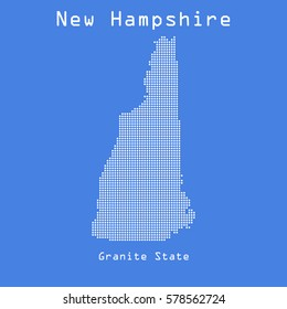 New Hampshire abstract dots map with name of state. Dotted style. Vector illustration
