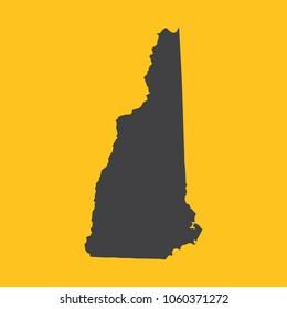 New Hampshire black map,border on orange background. Vector illustration.