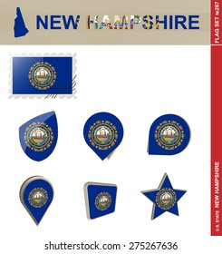 New Hampshire Flag Set, US state, Flag Set #267. Vector.