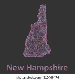 New Hampshire line art map
