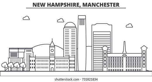 New Hampshire, Manchester architecture line skyline illustration. Linear vector cityscape with famous landmarks, city sights, design icons. Landscape wtih editable strokes