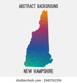 New Hampshire map in geometric polygonal,mosaic style.Abstract tessellation,modern design background,low poly. Geometric cover, mockup. Vector illustration.