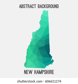 New Hampshire map in geometric polygonal,mosaic style.Abstract tessellation,modern design background,low poly. Vector illustration.