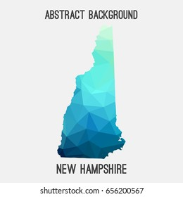 New Hampshire map in geometric polygonal,mosaic style in cold shades.Abstract tessellation,modern design background,low poly. Vector illustration.