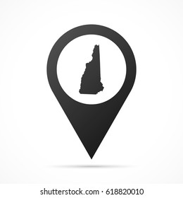New Hampshire Map on location pin. Map pointer isolated on a white background. Conceptual vector illustration.