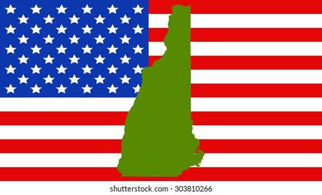 new hampshire map on a vintage american flag background