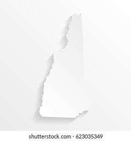 New Hampshire Map with shadow. Cut paper isolated on a white background. Vector illustration.