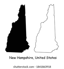 New Hampshire NH state Maps. Black silhouette and outline isolated on a white background. EPS Vector
