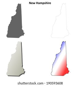 New Hampshire outline map set - vector version