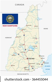 new hampshire road map with flag