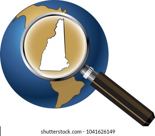 New Hampshire State Map Enlarged with Magnifying Glass on Globe