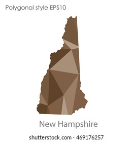 New Hampshire state map in geometric polygonal style.Abstract gems triangle,modern design background. Vector illustration EPS10