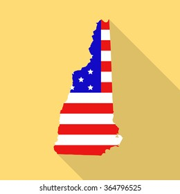 New Hampshire state map in style of USA national flag. Flat style with long shadow