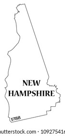 A New Hampshire state outline with the date of statehood isolated on a white background