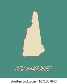 New Hampshire state of US map vector outlines illustration in a three dimensional grunge background