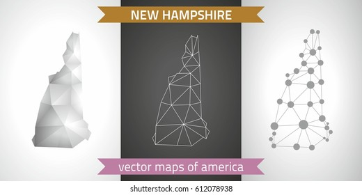 New Hampshire vector set of polygonal mosaic 3d maps, graphic design