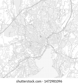 New Haven, Connecticut, USA, bright outlined vector map with bigger and minor roads and steets created for infographic backgrounds.