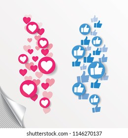 New Heart love, like, Thumbs up. Flying hearts. Red hearts of different sizes fly away. Like and Heart love icon in move. Vector illustration isolated on a white background EPS 10
