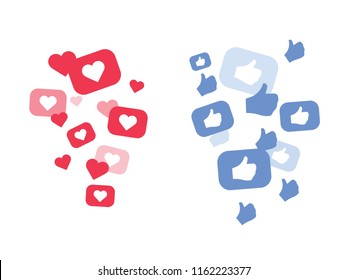 New Heart love and Thumbs up. Flying Red hearts of different sizes fly away. Heart love icon in move. Vector illustration isolated on a white background EPS 10. Social media marketing