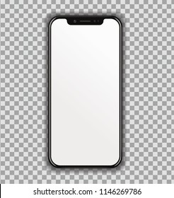 New High Detailed Realistic Smartphone similar to iphone Isolated on transparent Background. Display Front View. Device Mockup Separate Groups and Layers. Easily Editable Vector. EPS 10.