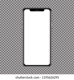 New High Detailed Realistic Smartphone similar to iphone Isolated on transparent Background. Display Front View. Easily Editable Vector. EPS 10.