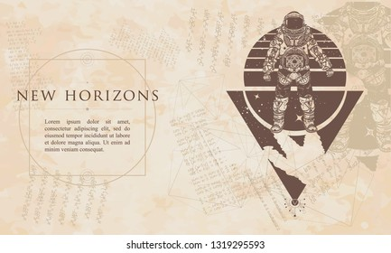New horizons. Astronaut. Cosmonaut in deep space. Renaissance background. Medieval manuscript, engraving art
