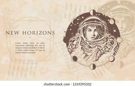 New horizons. Woman astronaut. Mountains on Mars. Spaceman exploring planets. Renaissance background. Medieval manuscript, engraving art