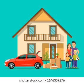 New house for family.  Happy family isolated.Things in the box next to the trunk of the car. Moving House. Vector flat style illustration