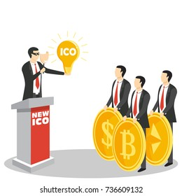 New ICO or initial coin offering concept vector illustration. New cryptocurrency project promotion. Fraud and deceit with ICO