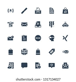 new icon set. Collection of 25 filled new icons included Mail, Notification, File, Message, Files, Email, Label, Shopping bag, Xing, Vr glasses, Attached file, Police car, Confetti