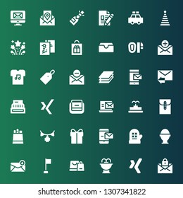 new icon set. Collection of 36 filled new icons included Mail, Xing, Fountain, Shopping bag, Corner, Email, Boiled egg, Mitten, Message, Present, Garland, Paper bag, Bag, Register
