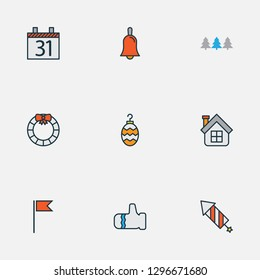 New icons colored line set with petard, bell, glove and other mitten elements. Isolated vector illustration new icons.