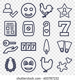 New icons set. set of 16 new outline icons such as chicken, 7 number, pine-tree, heart tag, news, favourite user, smiley, cookie, garland, camera display, smile, add user